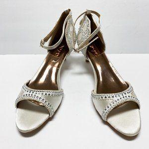 XYD Open Toe Rhinestone Studded Kitten Heel Sandal